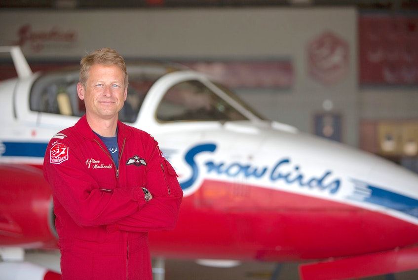 Capt. Steve MacDonald, who is from New Waterford, is living out his boyhood dream as a member of the snowbirds, Canada's elite Snowbirds aerobatics team. Contributed/Canadian Forces