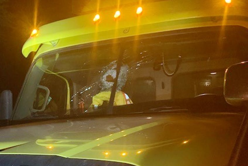 RCMP say this truck was one of the vehicles damaged by rocks thrown from an overpass on Highway 102 in Lantz early Saturday.