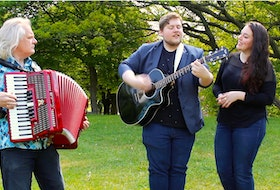 Brian Cherwick (left) of the band Kubasonics and Jordan Coaker (centre) and Kirsten Rodden-Clarke (right) of the band Quote the Raven are two St. John's based bands participating in Global Music Match 2021. Here they are in Victoria Park for an impromptu jam of the Quote the Raven song 'Hope.'