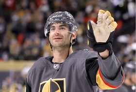 Max Pacioretty #67 of the Vegas Golden Knights waves as he celebrates the team's 6-2 victory over the Minnesota Wild in the First Round of the 2021 Stanley Cup Playoffs at T-Mobile Arena on May 28, 2021 in Las Vegas, Nevada.