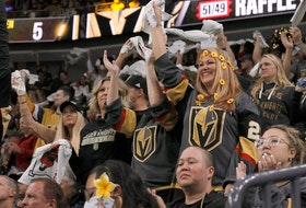 Las Vegas fans cheer on the Golden Knights during Game 6 of second-round playoff series against the Colorado Avalanche at T-Mobile Arena. The Golden Knights won the game 6-3, advancing to the Stanley Cup semifinals against the Canadiens.