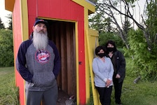 Sydney and District Little League board members stand in front of an equipment shed located at McCormick Ball Field off Cabot Street in Sydney on Sunday. Executive members discovered Sunday the shed had been broken into and gear stolen. From left, Scott Lecky, Michelle Ferguson, and Bev Haggett.
