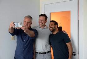 June 9, 2021--Photo of John DeMont with entrepreneur Ron Lovett, and his friend and business partner Shaun Majumber, for DeMont's column. ERIC WYNNE/Chronicle Herald