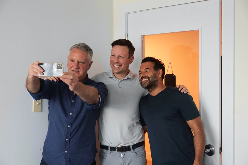 John DeMont takes a selfie with entrepreneur Ron Lovett and Lovett's friend and business partner Shaun Majumder. - Eric Wynne