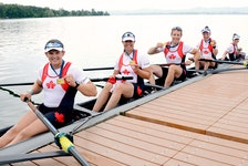 The Canadian PR3 Mixed Coxed Fours crew proudly display their medals after winning the  final Paralympic qualification regatta in Gavirate, Italy, last week. From left are: Kyle Fredrickson (Victoria), Victoria Nolan (Victoria), Andrew Todd (Dartmouth), Bayleigh Hooper (Peterborough, Ont.) and coxswain Laura Court (St. Catharines, Ont.).  They will represent Canada at the Tokyo Paralympics beginning Aug. 24. - Merijn Soeters/ Rowing Canada