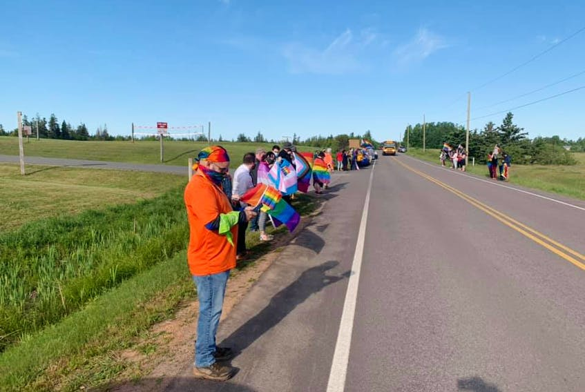 Pride P.E.I. secretary Andrea MacPherson shot this photo of 2SLGBTQIA+ supporters lining the highway outside of East Wiltshire Intermediate School June 14. The school was the subject of controversy over the weekend as news spread of homophobic incidents that occurred there June 10, which was designated Pride  Day at the school.