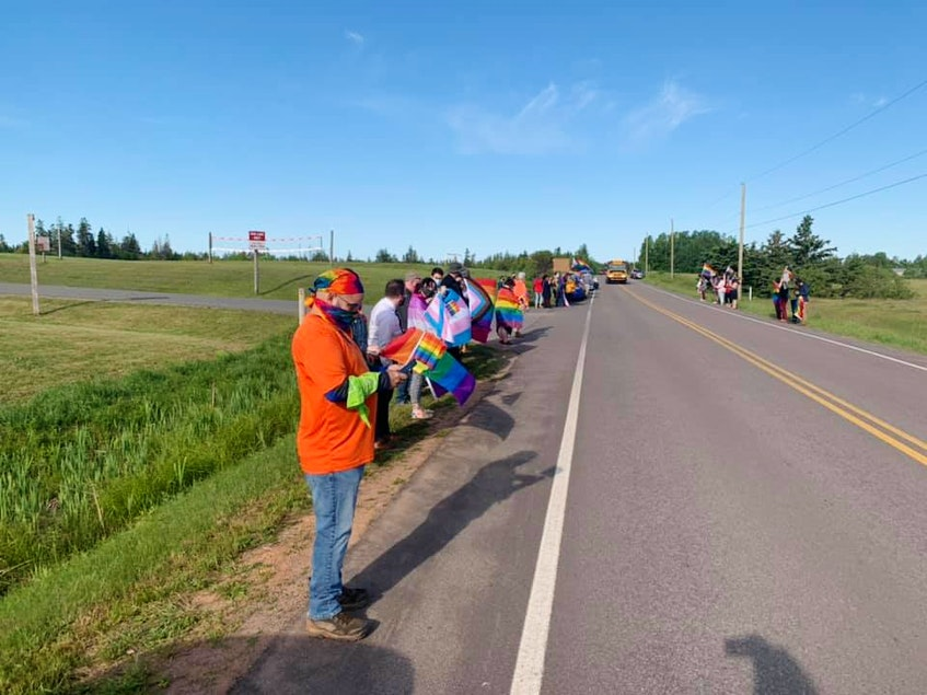 Pride P.E.I. secretary Andrea MacPherson shot this photo of 2SLGBTQIA+ supporters lining the highway outside of East Wiltshire Intermediate School June 14. The school was the subject of controversy over the weekend as news spread of homophobic incidents that occurred there June 10, which was designated Pride  Day at the school.  - Andrea MacPherson • Special to The Guardian