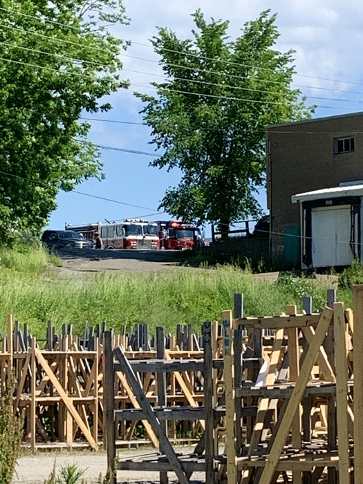 Firefighters from Windsor, Hantsport and Brooklyn checked Avon Valley Greenhouses after staff evacuated due to a propane leak June 14. - Contributed