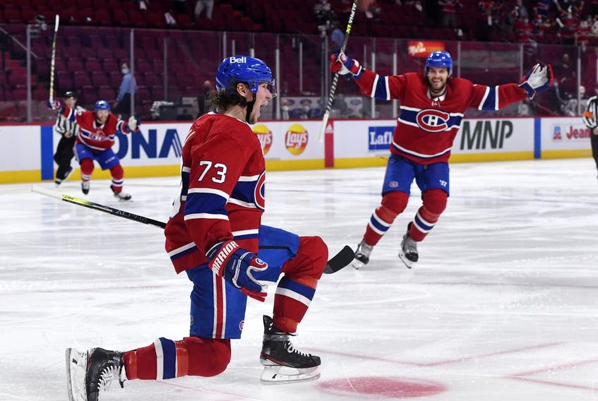 The Canadiens' Tyler Toffoli celebrates after scoring overtime goal for 3-2 win over the Winnipeg Jets in Game 4 to sweep North Division final June 7 at the Bell Centre.