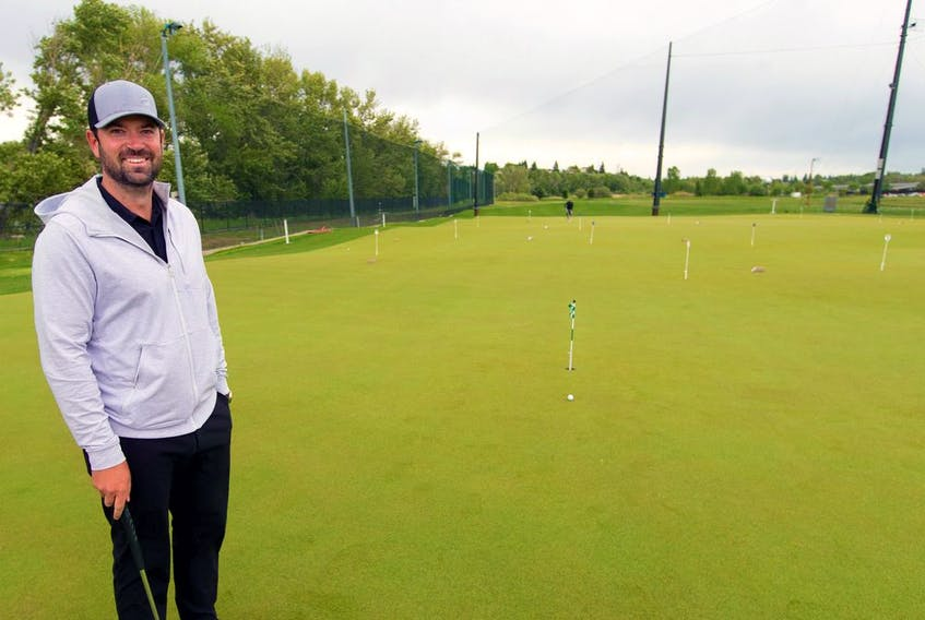 Todd Halpen, director of instruction at Golfuture YYC, was photographed on the facility's new putting green, the largest in Canada on Thursday, June 10, 2021. Gavin Young/Postmedia
