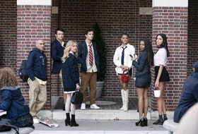 Evan Mock, left, Thomas Doherty, Emily Alyn Lind, Eli Brown, Jordan Alexander, Savannah Smith, and Zion Moreno star in the Gossip Girl reboot that premieres July 8 on HBO Max. The show explores just how much social media — and the landscape of New York itself — has changed in the intervening years since the original show, which ran from 2007-2012 on The CW. - HBO MAX photo