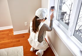 When painting an entire room, paint the ceilings first, then the walls, and finally the trim, recommends Rosslyn Gillan.