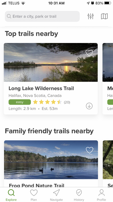 The AllTrails app is a great resource to find nearby trails.  - Heather Fegan