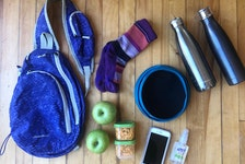 Some of the items that Heather Fegan keeps in her pack when hiking with her family.