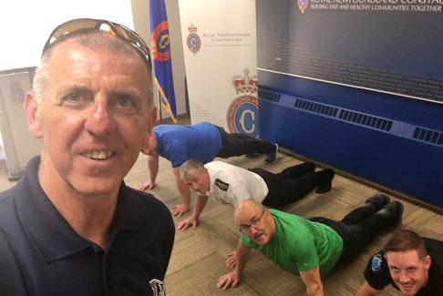 Telegram reporter Sam McNeish takes a selfie at a Royal Newfoundland Constabulary event in 2019 on mental-health initiatives within the police force.