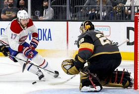 Canadiens' Josh Anderson is stymied by Golden Knights goalie  Marc-André Fleury during Game 1 Monday night in Las Vegas.