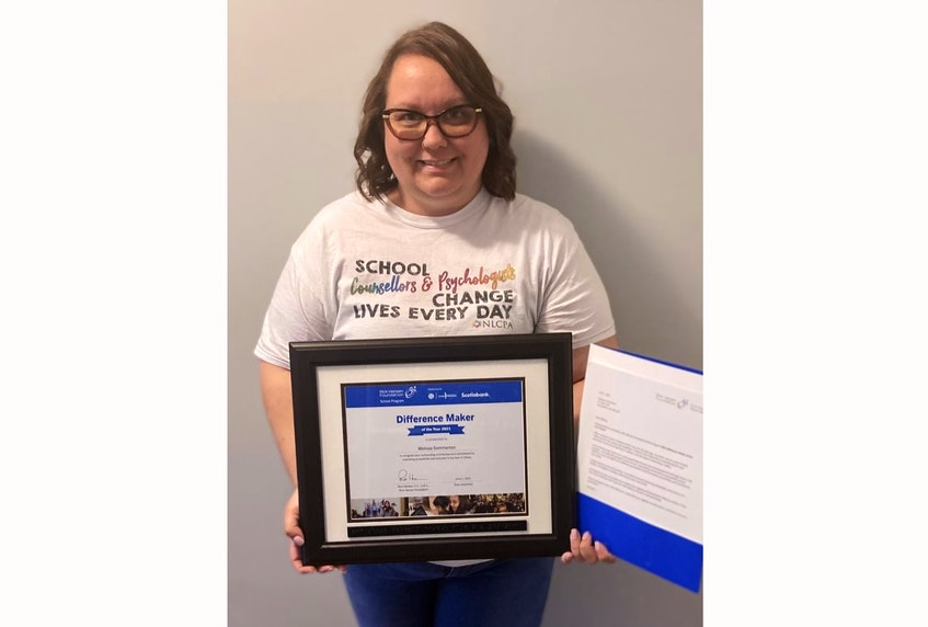 Through her work as a guidance counsellor, Melissa Somerton was named by the Rick Hansen Foundation as a 2021 Difference Maker of the Year. - Contributed