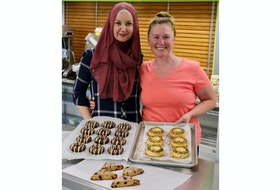 Jane Goode, the owner and operator of Bliss Bakery, and her sister-in-law and assistant baker Alma Krivdic, (left) spend their Wednesdays baking up plenty of keto delights out of a commercial kitchen in Hants County.