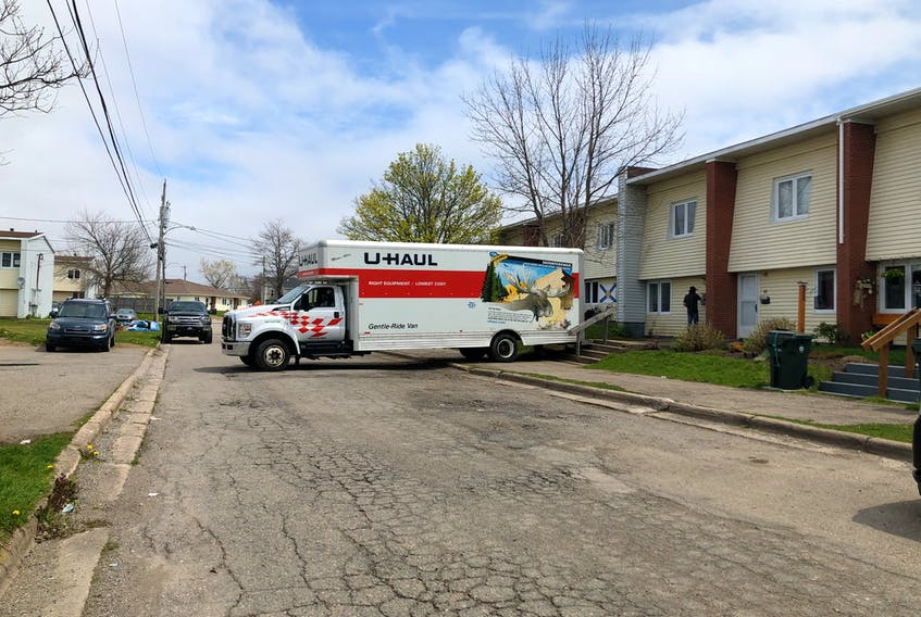 A U-Haul parked outside a rental unit on Sidella Drive, one of the streets included in the area commonly called Rockcliff Apartments, owned by Ava Holdings Ltd. CAPE BRETON POST PHOTO