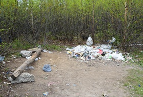 A large number of transient people in Happy Valley-Goose Bay live in areas like this on the trail system and in the woods surrounding town.