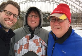 Ian Johnson, left, with his sons Adam Beaton-Johnson and James Beaton-Johnson. After Johnson's stroke last year, support from his family was very important to his recovery.