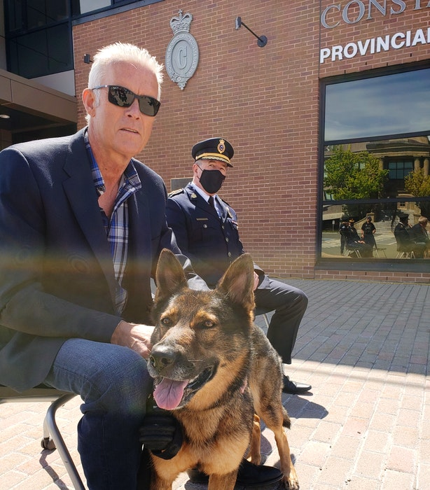Dali will live in retirement with Jim Hynes, who was responsible for her coming to work with the RNC. — Royal Newfoundland Constabulary handout photo
