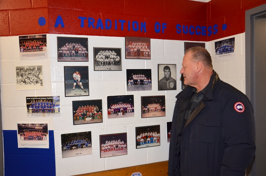 Gerard (Turk) Gallant checks out alumni photos inside the Summerside Western Capitals' dressing room during a visit home to P.E.I. in January of 2020. Gallant, who began his coaching career with the Maritime Junior Hockey League (MHL) team during the 1995-96 season, is the new head coach of the New York Rangers. - Jason Simmonds