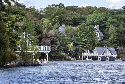 The cottage, right, of businessman and television personality Kevin O'Leary on Lake Joseph photographed Sept. 26, 2019.