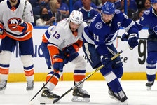 In Game 2 at Amalie Arena, the changes that must come for the Lightning are pretty simple. Turnovers such as the one by captain Steven Stamkos (right) that led to a Mathew Barzal goal for the Islanders (left) in Game 1 can't happen. Getty Images