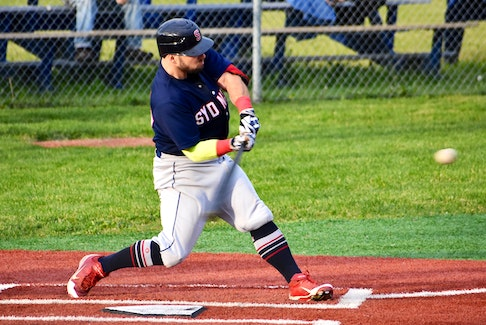 In this 2019 file photo, Jordan Shepherd of the Sydney Sooners connects with the ball during a Nova Scotia Senior Baseball League game at the Susan McEachern Memorial Ball Park in Sydney. The Sooners will being training camp today in preparation for the 2021 season. JEREMY FRASER • CAPE BRETON POST