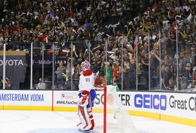 Canadiens goalie Carey Price stands in his crease as fans at T-Mobile Arena in Las Vegas cheer following goal by Alec Martinez in Game 1 of Stanley Cup semifinal Series. Vegas won the game 4-1.