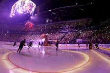 A fisheye lens image of the Vegas Golden Knights taking to the ice for Game 1 of the Stanley Cup Semifinals against the Montreal Canadiens at T-Mobile Arena on June 14, 2021 in Las Vegas.