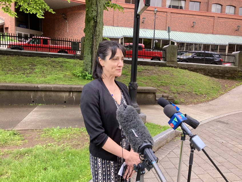Elizabeth Kennedy, director of the water branch of the provincial Environment Department, said blue-green algae is likely in Grand Lake to stay at a Wednesday afternoon briefing at Grand Parade in downtown Halifax. - Francis Campbell