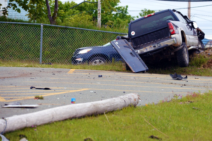 One man suffered only minor injuries after the pickup he was driving cracked a utility pole in C.B.S. Wednesday night. — Keith Gosse/The Telegram