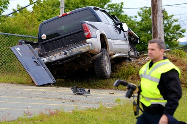 One man suffered only minor injuries after the pickup he was driving cracked a utility pole in C.B.S. Wednesday night. Keith Gosse/The Telegram