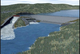 """This image, created for Nalcor and included in a 2012 report """"Gull Island: Why not develop Gull Island first?"""" shows a proposed dam  and hydroelectric development on the Churchill River in Labrador. — Nalcor/Department of Natural Resources"""
