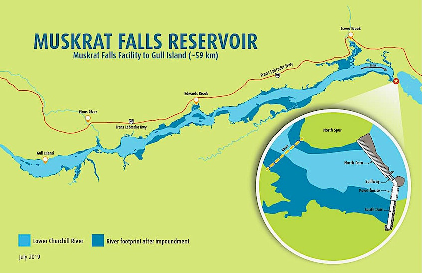 This map of the Muskrat Falls Reservoir shows Gull Island relation to the hydroelectric development at Muskrat Falls. — Nalcor - Nalcor Energy