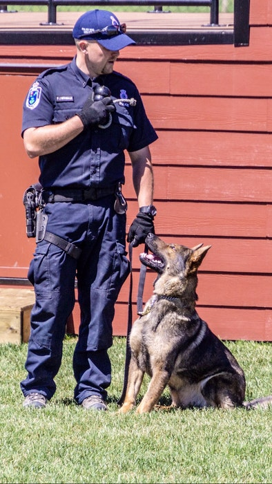 Dali, shown with her partner/handler, Const. Pat McDonald, was the Royal Newfoundland Constabulary's first female police dog. — RNC/Twitter
