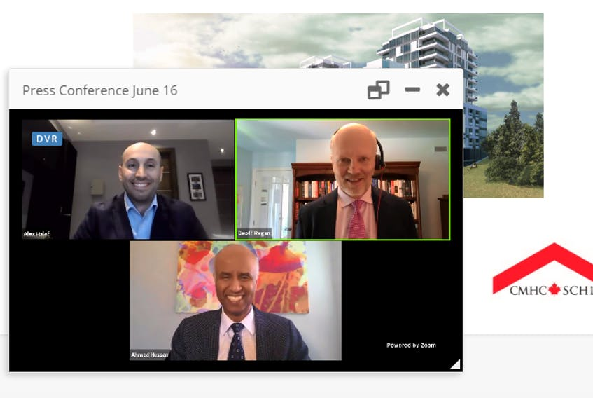 June 16, 2021 - Clockwise from top left: Alex Halef, president of the BANC Group, Halifax West MP Geoff Regan and Ahmed Hussen, Minister of Families, Children and Social Development and Minister responsible for Canada Mortgage and Housing Corporation, take part in an online news conference to announce a $115.5 million low-cost loan to aid the construction of a multi-use building including 324 residential units on Joseph Howe Drive in Halifax.