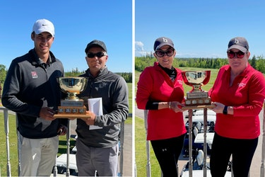 Tyler Hashmi, left, and Jamie Vessey earned the Championship Division of the Avondale Open on June 12 and 13 while Brenda McIIwaine, third from left, and Sherry White won the Ladies Division title.
