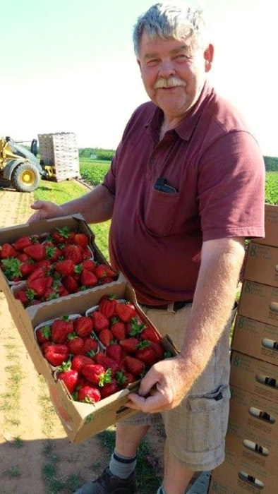 Curtis Millen shows off a flat of his berries. Millen and his family have been growing strawberries in the Great Village area of Nova Scotia for close to four decades. - Contributed