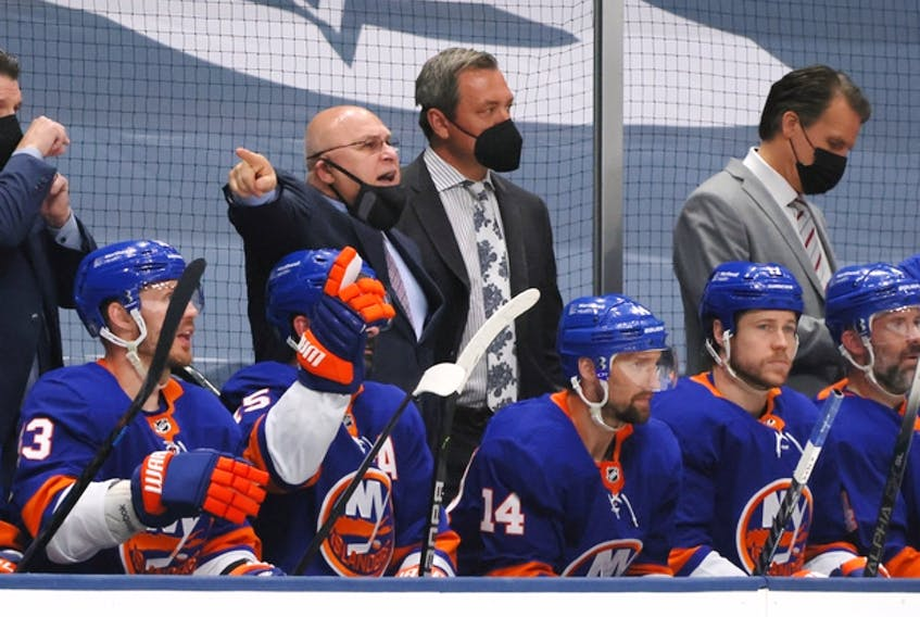 New York Islanders head coach Barry Trotz barks commands during the playoffs at the Nassau Coliseum.