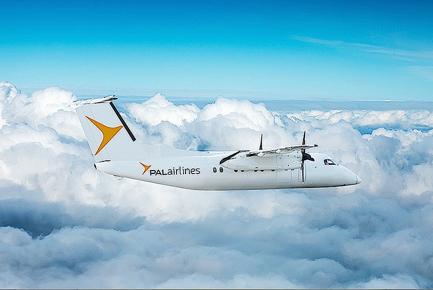 A PAL Airlines Dash 8-100 aircraft, the plane to be used when the carrier starts offering Sydney-Halifax flights. Service was expecting to start June 28, but now looks like it will launch the end of July. -- CONTRIBUTED