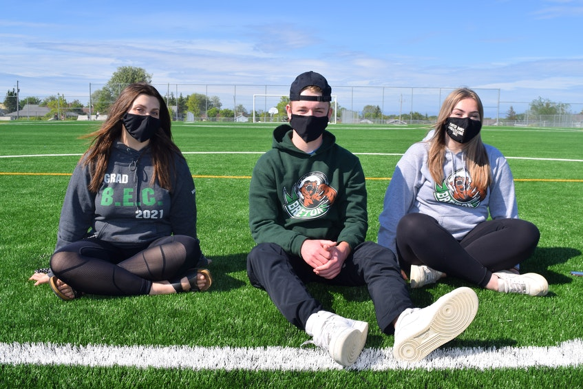 Grade 12 students from Breton Education Centre, from the left, Kelsey Woodland, Drew Baldwin and Kelly Pinhorn, say since holding the traditional end of the year prank day at the high school June 11 they are being called vandals when in reality it was a tradition they upheld that was sanctioned by the school. BEC denies giving permission. Sharon Montgomery-Dupe/Cape Breton Post
