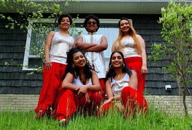 """Sanchita Chakraborty of Bollywood Jig says everyone has skill and talent but need the platform and opportunity to explore it. As her father told her, """"Even a diamond has to be polished to shine."""" Starting from left, back row: Sanchita Chakraborty, Annaay Antony and Tarannum Ahmed Oyshee. Front row: Ananya Antony and Rubthika Hubert."""