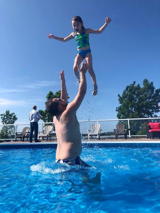 Cory Chafe and his stepdaughter Sarah LeBlanc enjoy a fun day at the pool. - Contributed