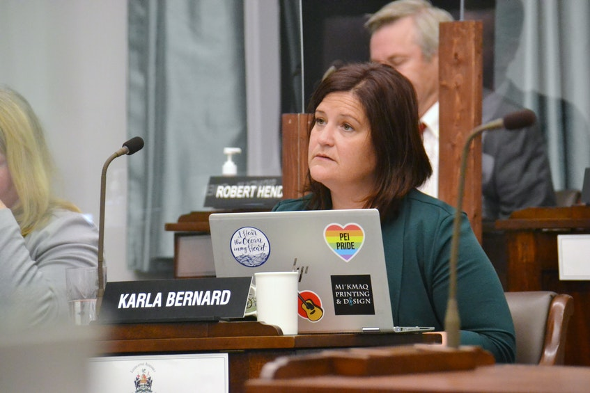 Green MLA Karla Bernard asked Michael Gardam about confidentiality agreements, which she believes muzzles health care staff and prevents from advocating for their patients.  - Stu Neatby • The Guardian