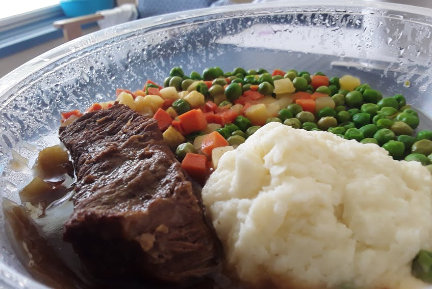 The pot roast was tender and tasty. I didn't know at the time that I could have ordered extra gravy and changed up the vegetables