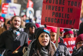 Ontario teachers and education workers picket outside of  The Fairmont Royal York Hotel in Toronto, Ont. on Wednesday February 12, 2020.