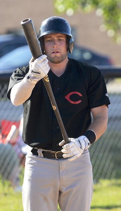 Cole MacLaren prepares for an at bat during the 2020 Kings County Baseball League season. - Jason Malloy • The Guardian